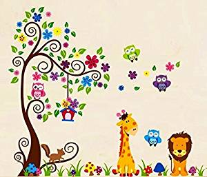Nursery Forest Animal Wall Decals, Nursery Wall Decals, Giraffe Wall Stickers, Owl Wall Stickers, Lion Wall Stickers, Nursery Wall Stickers by HH Baby Boutique