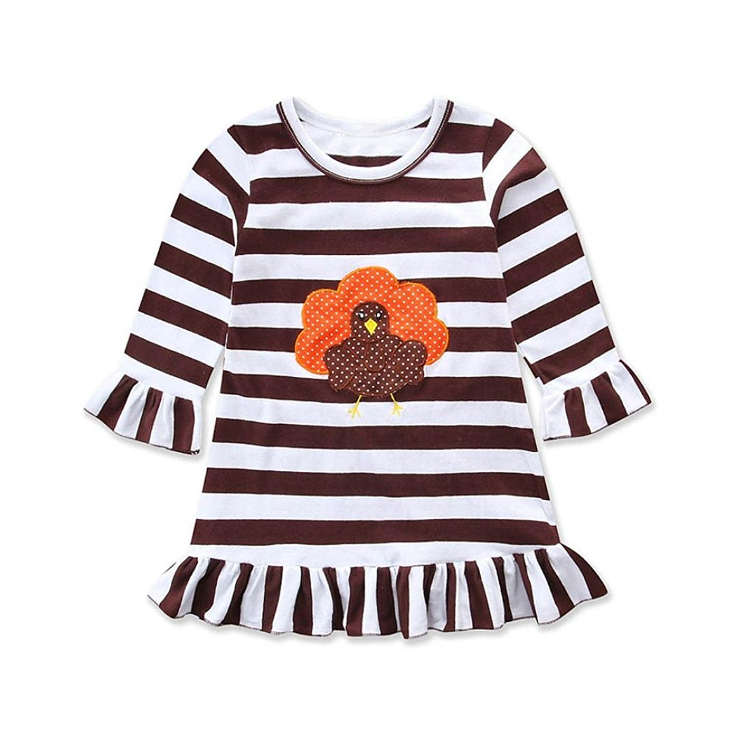 d368fadeeed4 Get Quotations · FAPIZI Happy Thanksgiving Baby Dress Toddler Girl Turkey  Long Sleeve Print Dress Stripe Sundress Outfit