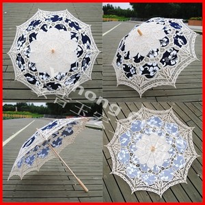 Anji umbrella factory 100% cotton handmade wooden stick lace parasol