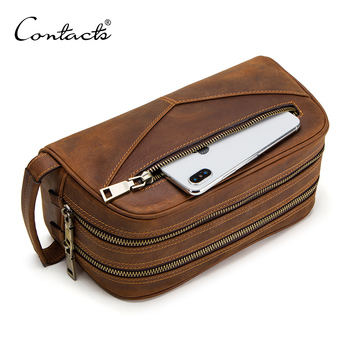 CONTACT'S Cosmetic Travel Bags Manufacturer Double Zip Vintage Crazy Horse Leather Makeup Bags