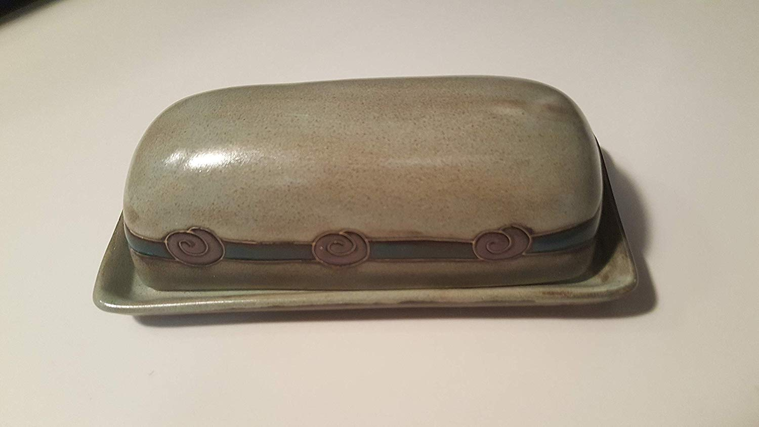 Mara Ceramic Stoneware Antique Green Butter Dish with Lid