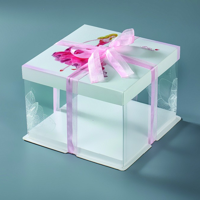 Wholesale large transparent windows birthday cupcake packaging paper cake box