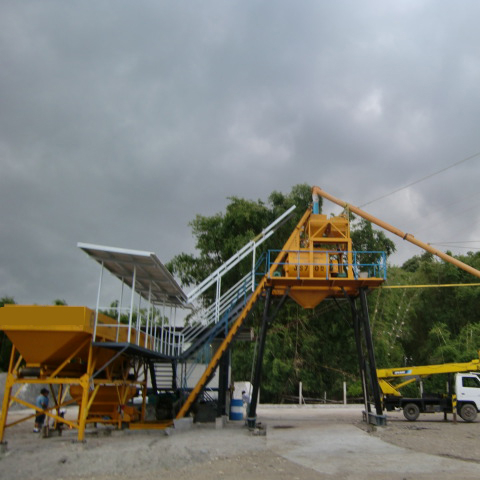 HZS75 skip hopper cement batching plant