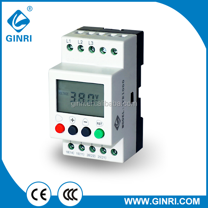 GINRI JVR1000 Three phase voltage monitoring relay LCD Display Delay time for overvoltage undervoltage phase unbalance