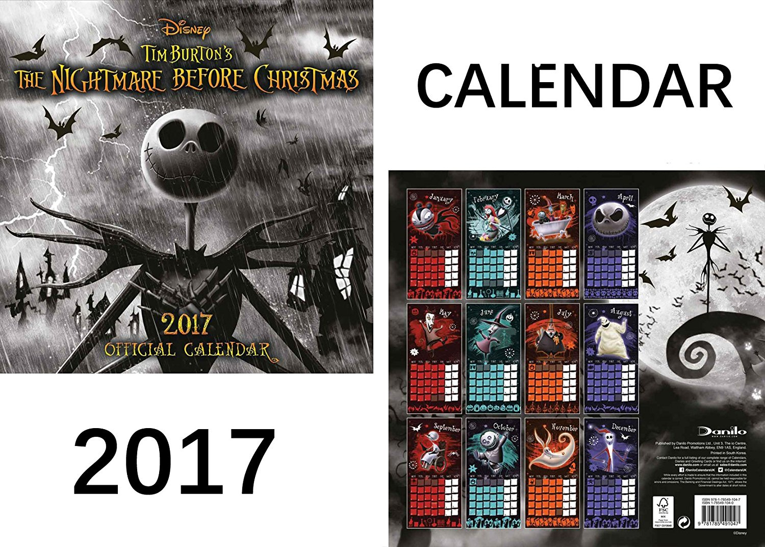 get quotations the nightmare before christmas official 2017 calendar nightmare before christmas fridge magnet