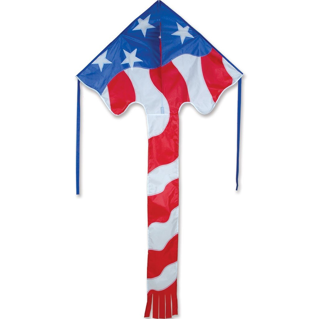 """Kite - Large Easy Flyer - Patriotic Flag (46"""" X 90"""") with 300 Ft 30lb Test Kite String and Winder"""