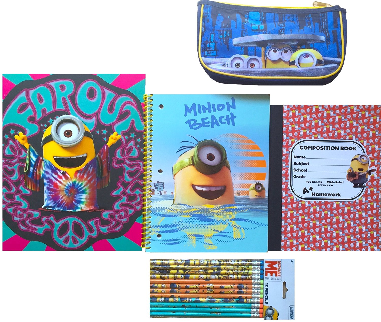 Minions Movie Exclusive Back to School Set Includes Minions Folder and Minions Spiral Notebook, Minions Composition Book with Minion Pencils and Minion Pencil Case