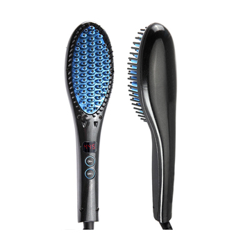 Dual Voltage Flat Iron Black Professional Hair Straightener Brush Hair Styling Comb