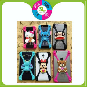hot sell universal Cartoon Silicon bumper case frame phone case compatible with all phones under 6inch silicone phone cove