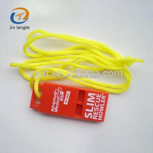 Custom logo plastic emergency flat whistles with lanyard