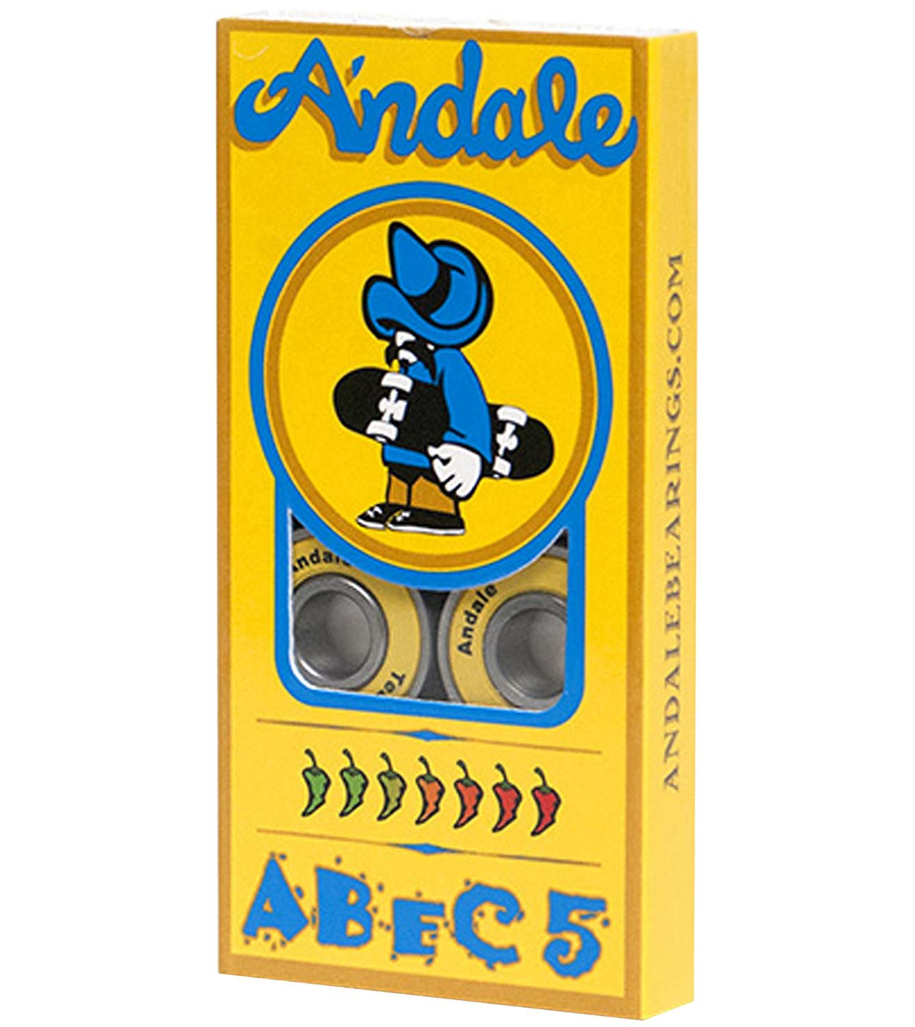Andale Abec-5 Skateboard Bearings Yellow