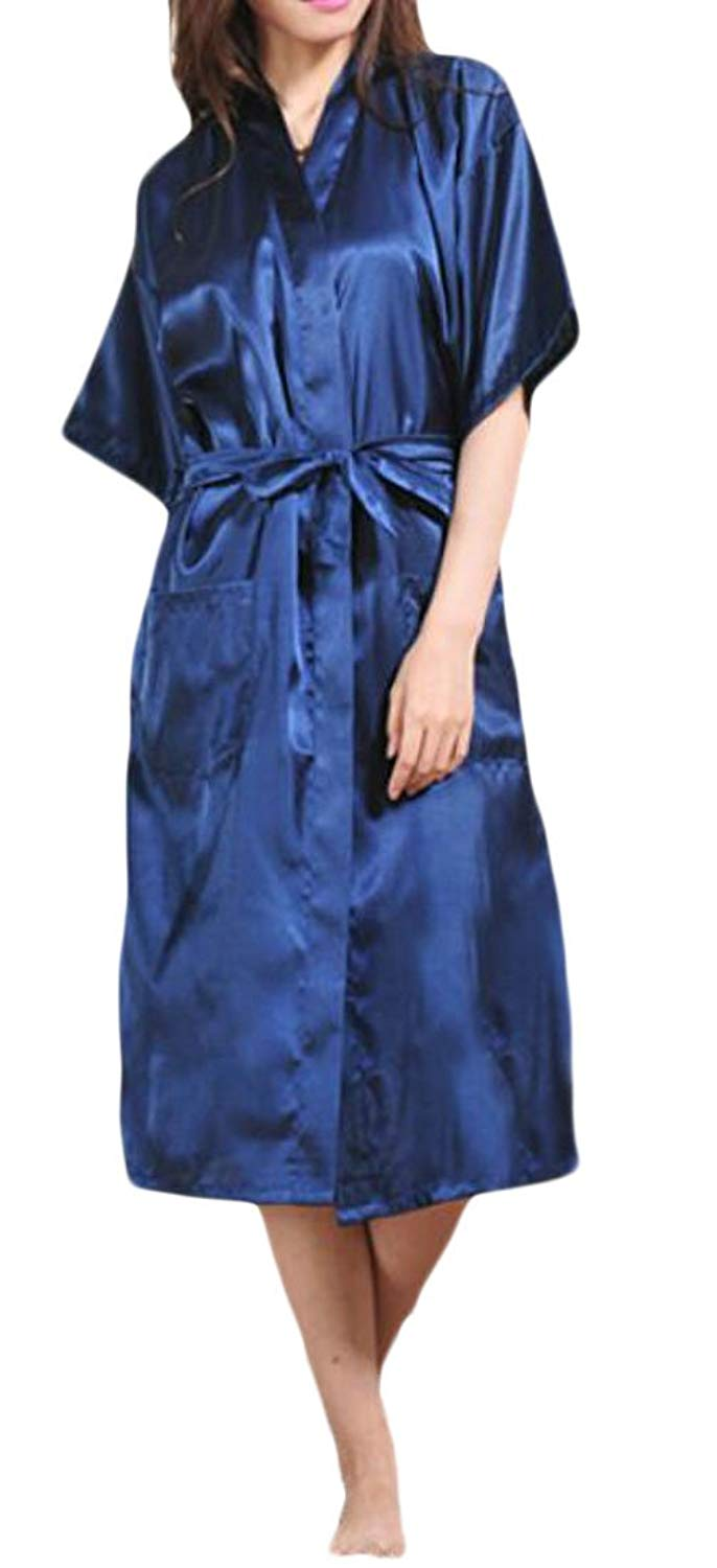 Get Quotations · Lutratocro Womens Satin Smooth Solid Color Kimono  Loungewear Open Front Jersey Light Weight Robe fbe71baad
