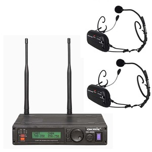 Professional high quality UHF dual channels wireless headset microphone wireless systems