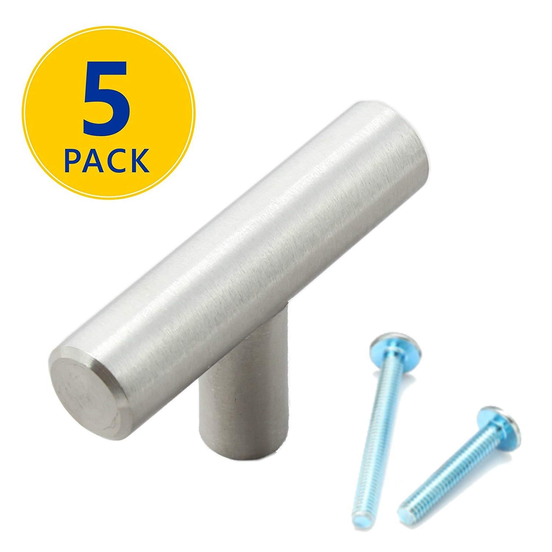 "5 Pack | 2"" Stainless Steel T Bar Cabinet Pulls: 2"" T Knob | Modern Euro Style Brushed Satin Nickel Finish Kitchen Cabinet Hardware/Dresser Drawer Handles"