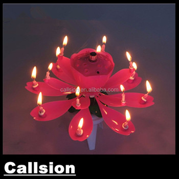 Wholesale Opening Flower Sharp Rotating Music Firework Birthday Candle With 14 Pcs Small Inside