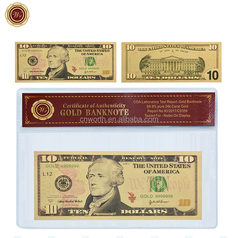 Ten 10 US $100 Banknotes USD 24k Gold Foil Paper Money Dollars-A