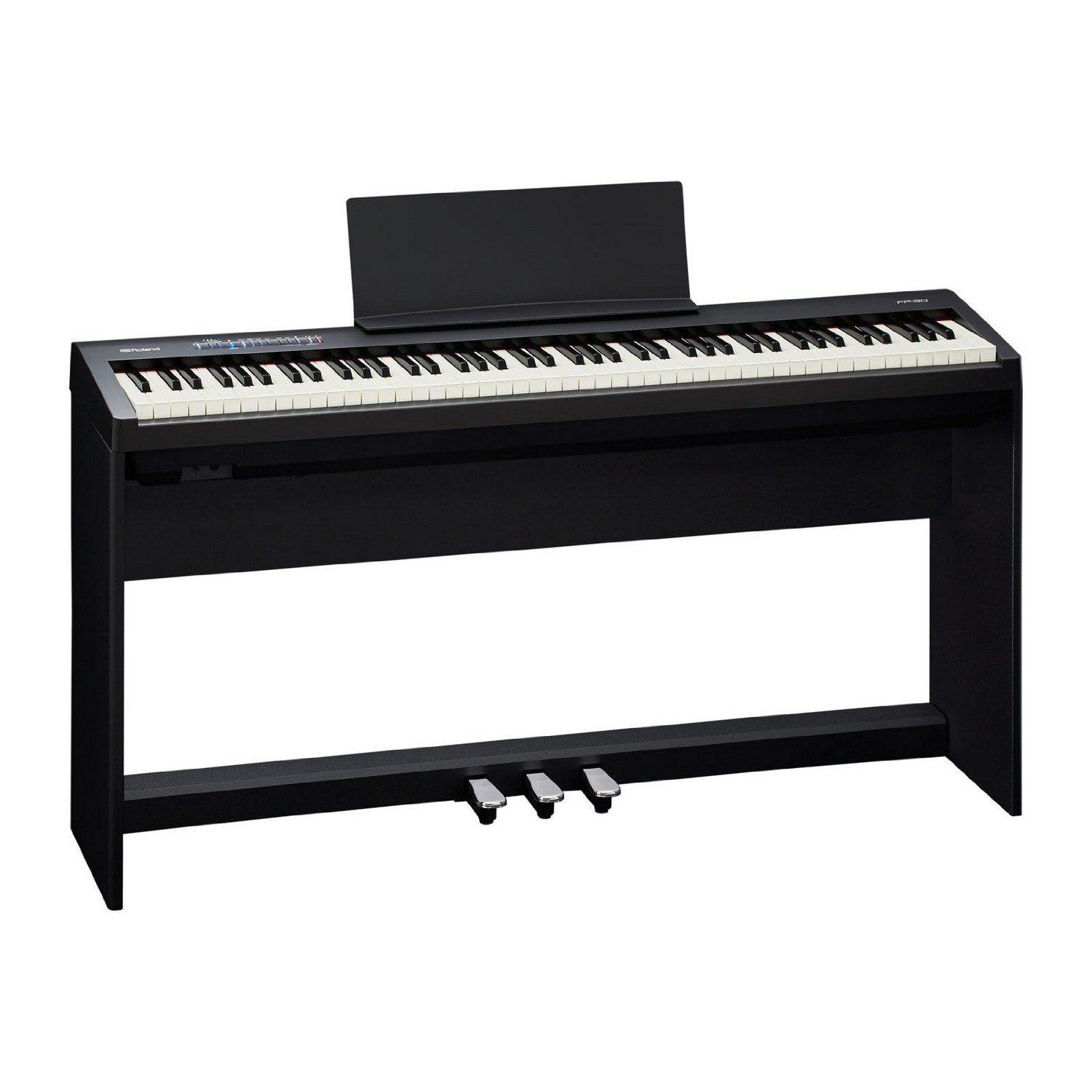 Roland FP-30-BKC | Portable 88 Key Digital Piano with Stand Pedal Board Black