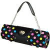 Fashion polka dot PU leather wine case with metal shoulder strap