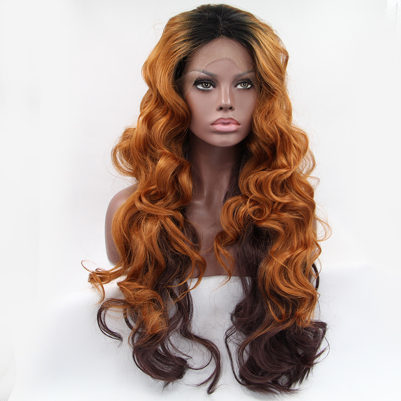 Free Shipping Long Wavy Synthetic Lace Front Wig Glueless Ombre Tone Blonde to Brown Heat Resistant Hair Wigs