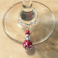 Fashion Style Alloy Beaded Wine Charms With Ring