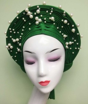 High Quality Nigerian Round Wrap Head Tie Easy Wear Auto Gele Aso Oke Gele With Beads