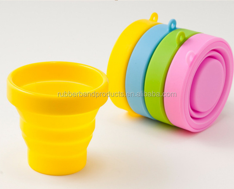 Portable Folding FDA Silicone Coffee Drinking Cups, Outdoor Callapsible Camping Cups
