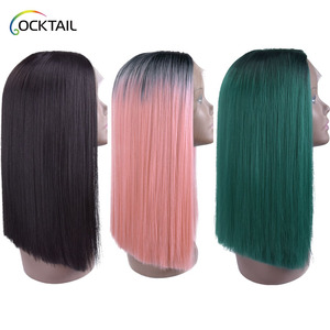 heat resistant lido pink ombre color silky straight wig colorful middle part synthetic hair bob lace front wig