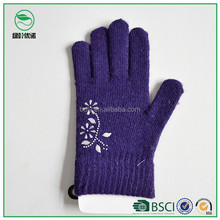 Lowest Price 100% Acrylic Unlined Purple wool Gloves