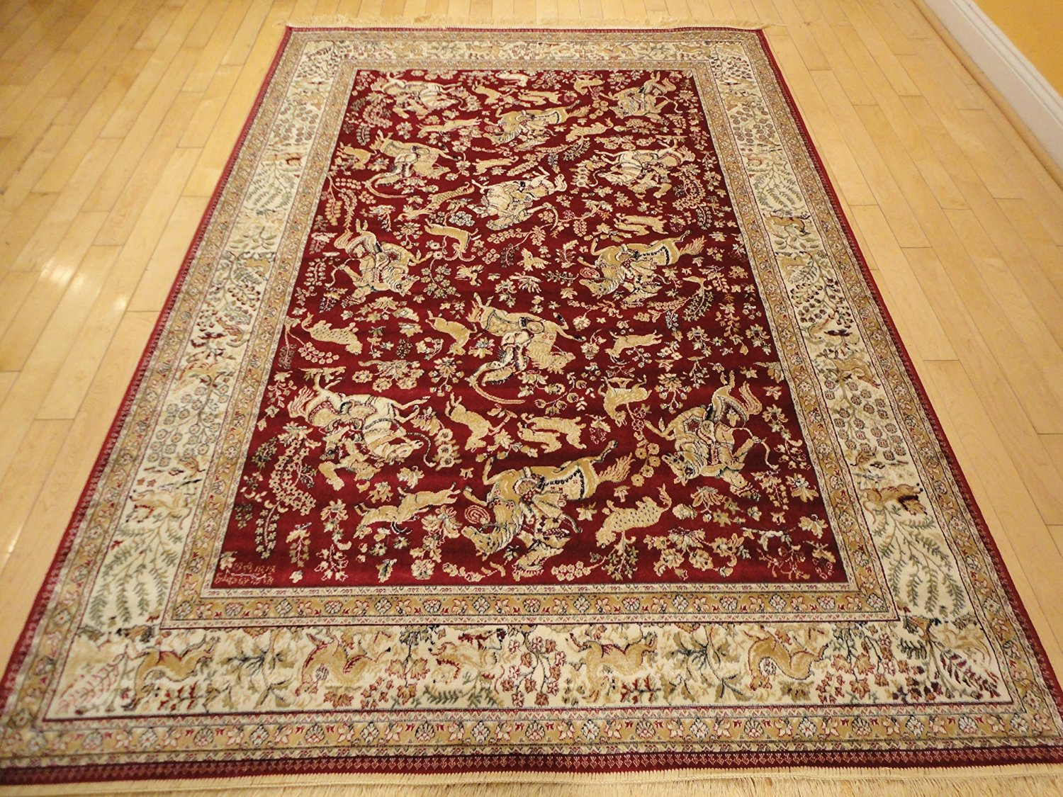 Silk Area Rug Large Rugs 8x12 Red Traditional Floor Carpet High End Animal Print