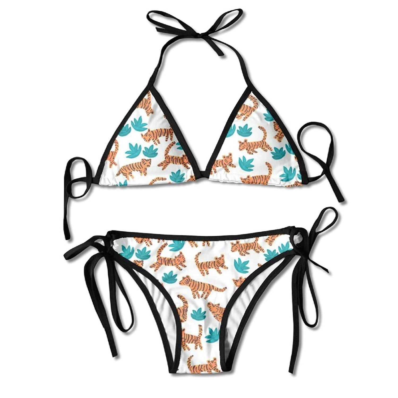 d10a391d2cbdc Get Quotations · Tiger Animal Two Piece Bikini Swimsuits For Girls Triangle  Bikini Set Top Beachwear High Waisted