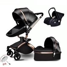 Hot Mom Luxus <span class=keywords><strong>Baby</strong></span> <span class=keywords><strong>Kinderwagen</strong></span> 3 in 1 Folding bi-directional hoch landschaft <span class=keywords><strong>kinderwagen</strong></span> künstliche leder