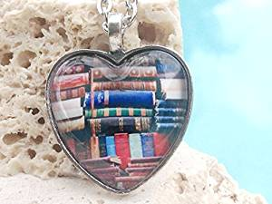 Bookshelf heart pendant, heart shaped necklace, book pendant, heart pendant, book necklace, heart necklace, book heart