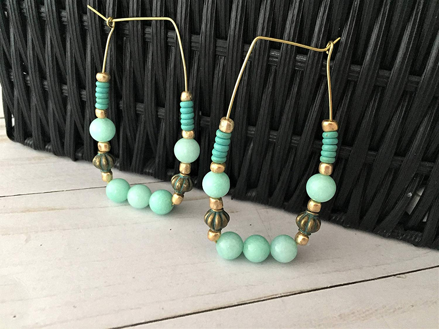 Beaded Hoop Earrings, Geometric Earrings, Turquoise Bead Hoop Earrings, Blue Hoop Earrings, Beaded Rectangle Hoops, Mint Green Hoop Earrings