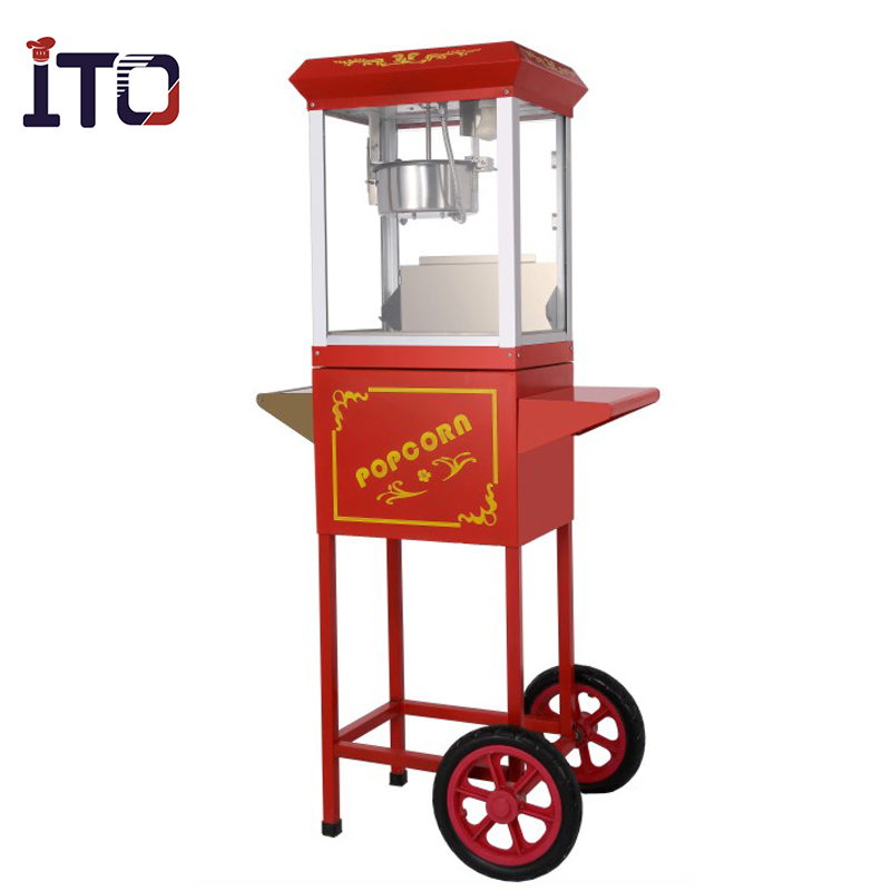 Factory automatic popcorn maker popcorn machine cart with wheels # PO04