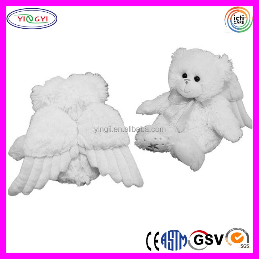 A437 Cute Baby Teddy Bear Plush Angel Animal Toy Stuffed Bear with White Wings
