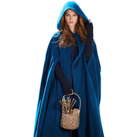 American European autumn winter solid color hoody long hooded cloak women