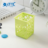 Fancy square plastic table pencil cup pen holder