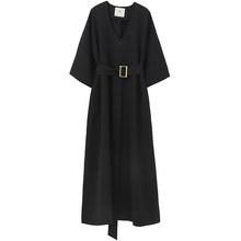 Женское платье EAM, черное платье большого размера с треугольным вырезом и рукавом средней длины, свободный пояс с карманами, весна-лето 2020(Китай)