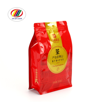 High quality square flat bottom stand up resealable zipper aluminum foil laminating plastic bag pouch loose leaf tea packaging