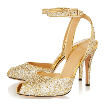 24c794210 light gold glitter upper dance high heel new model peep toe low price  ladies sandals