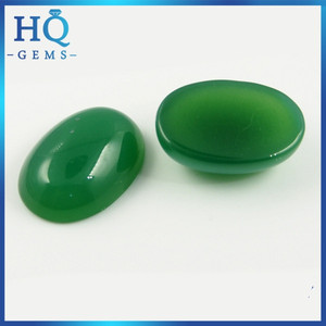 Natural green oval cabochon chalcedony stone agate for ring