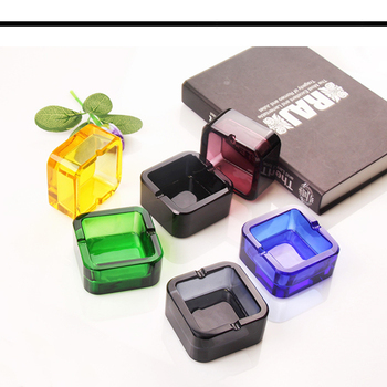 hot sale custom personality multicolour square crystal glass ashtray