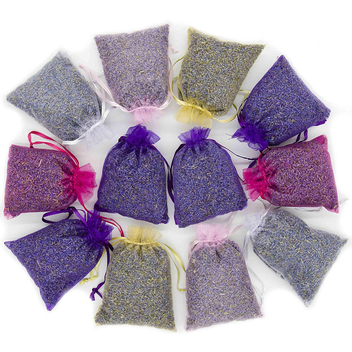 D'vine Dev French Lavender 12 Sachets Bag - Dried Lavender Flower Buds - 5 Colors Sachets with Easy Resealable Bag