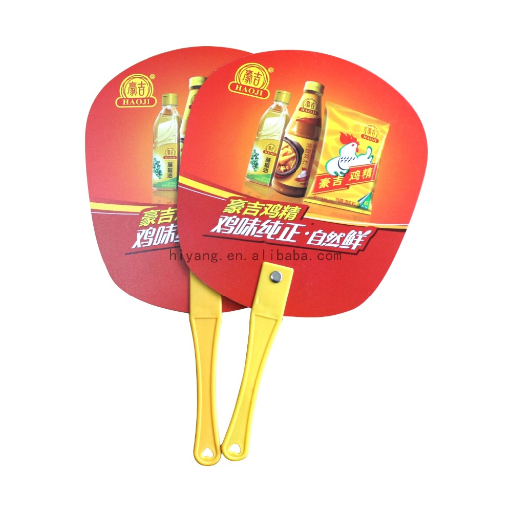 Manufacturer customized full color print plastic promotional hand fan