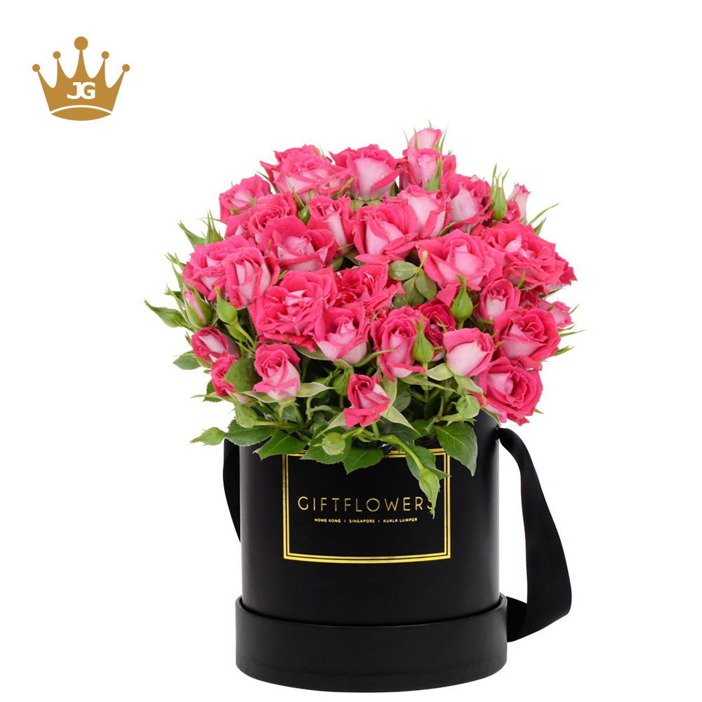 Luxury custom printing black box round flower <strong>boxes</strong>