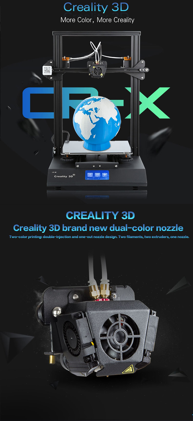 2018 newest dual color printing touch screen Creality CR-X 3d printer