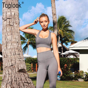 Toplook Moisture Wicking Sports Running Fitness Suit Yoga Pants Leggings Sports Bra With Chest Pad yoga set S57