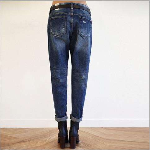 Осень тёмно-синий джинсы женское харлан разрез девять ярдов прямой джинсы плойки для женщины подарок
