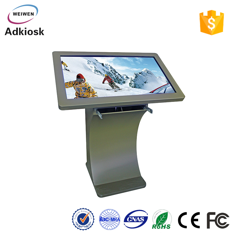 43 inch indoor advertising free floor standing mulit language touch screen kiosk