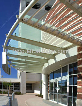 Large Outdoor Glass Awning Canopy Design